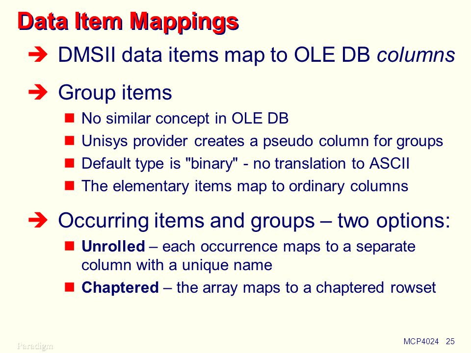 Data Item Mappings DMSII data items map to OLE DB columns Group items