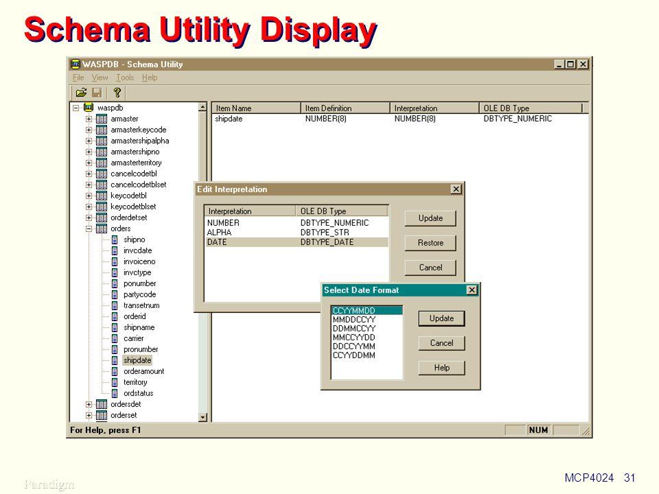Schema Utility Display