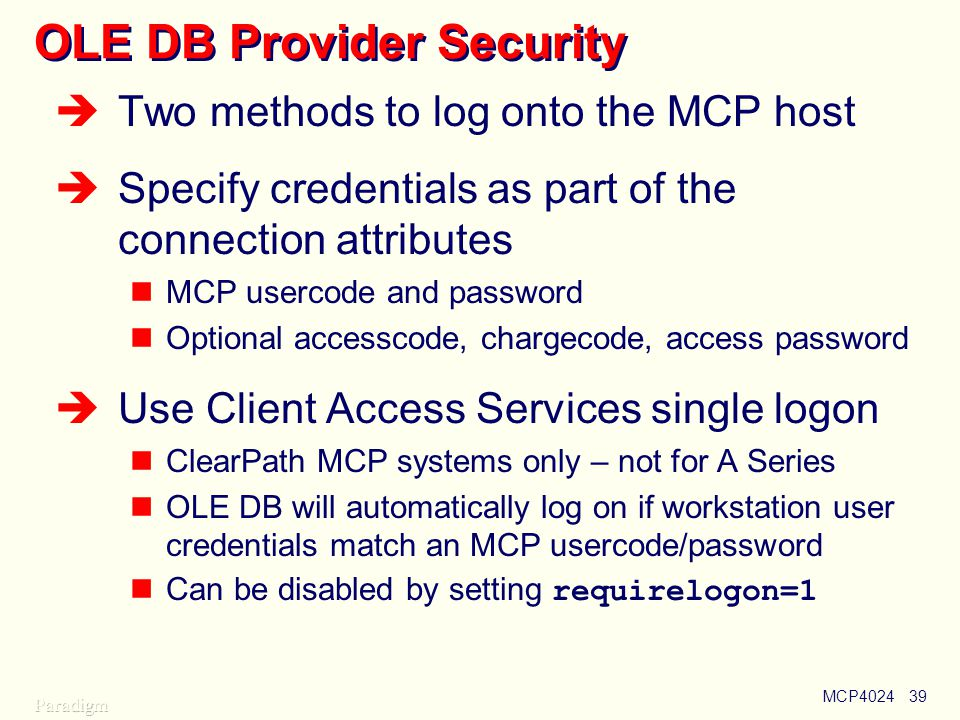 OLE DB Provider Security