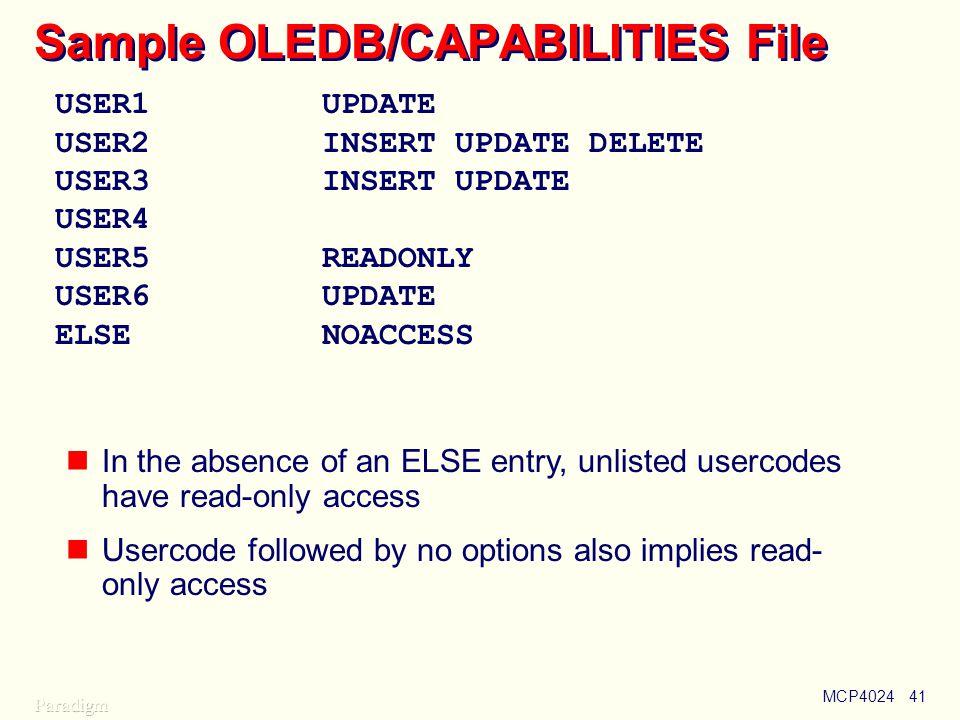 Sample OLEDB/CAPABILITIES File