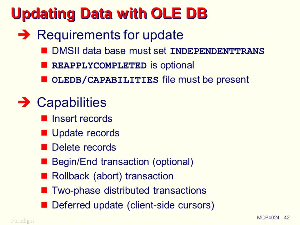 Updating Data with OLE DB