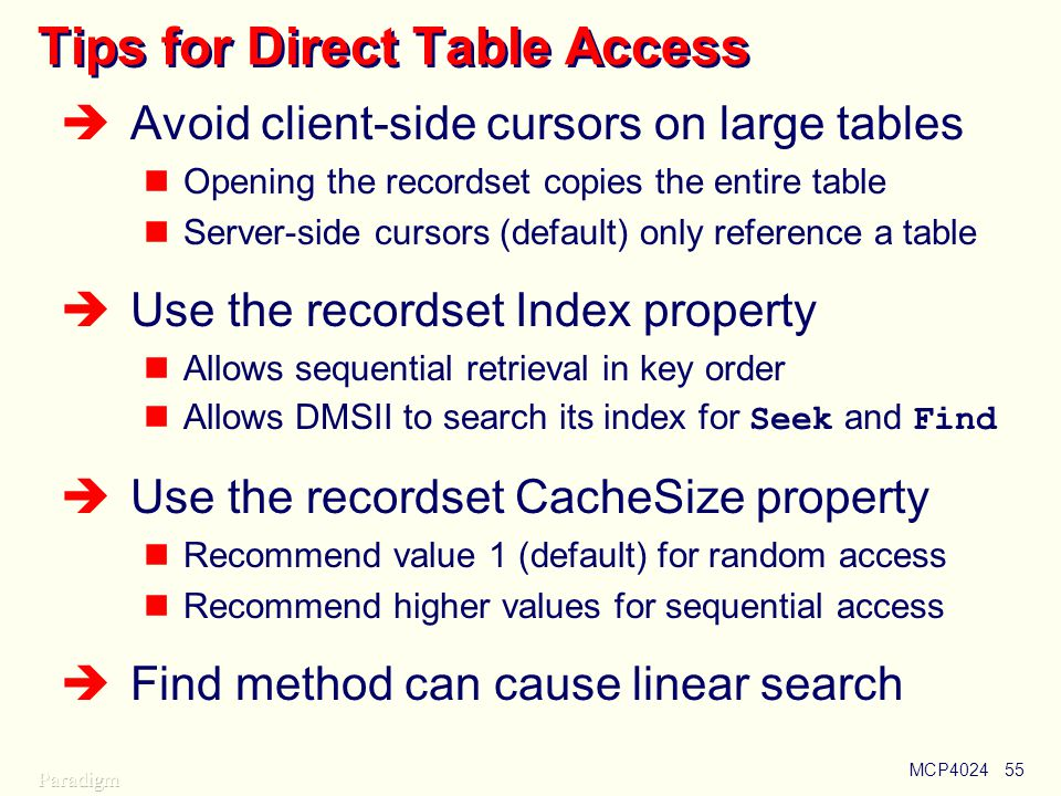 Tips for Direct Table Access