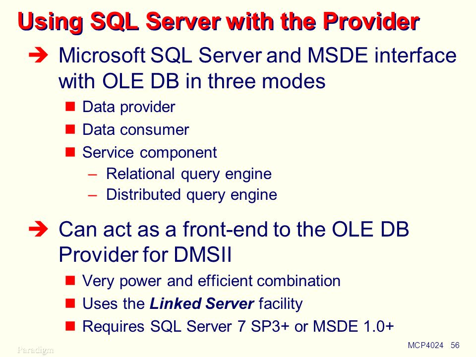 Using SQL Server with the Provider