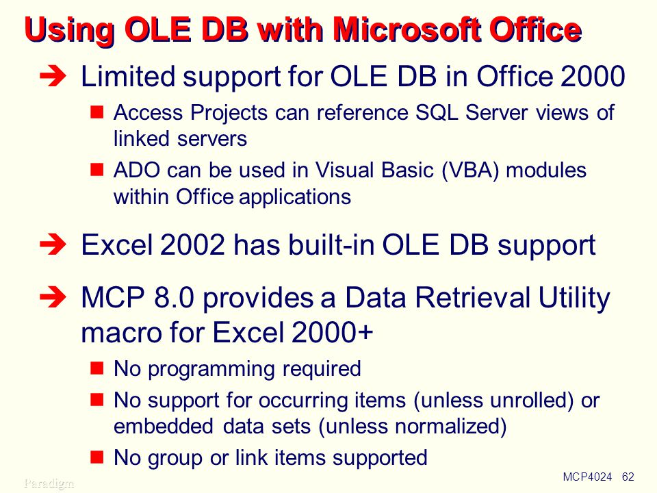 Using OLE DB with Microsoft Office