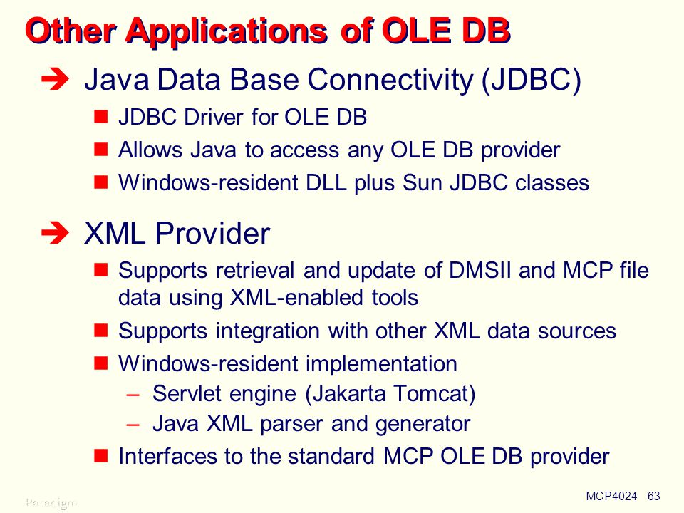 Other Applications of OLE DB