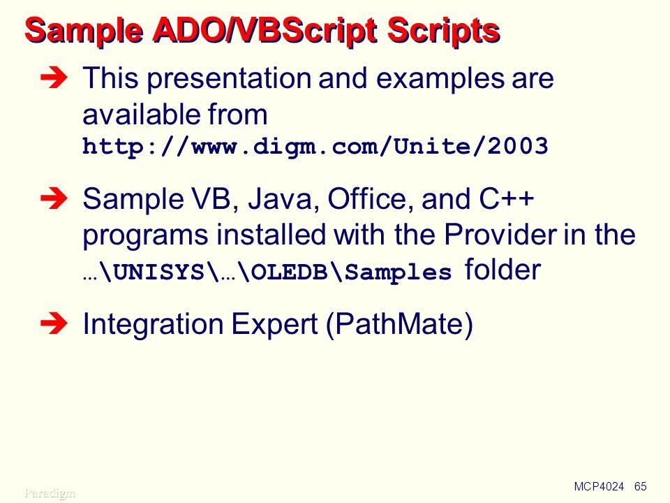 Sample ADO/VBScript Scripts