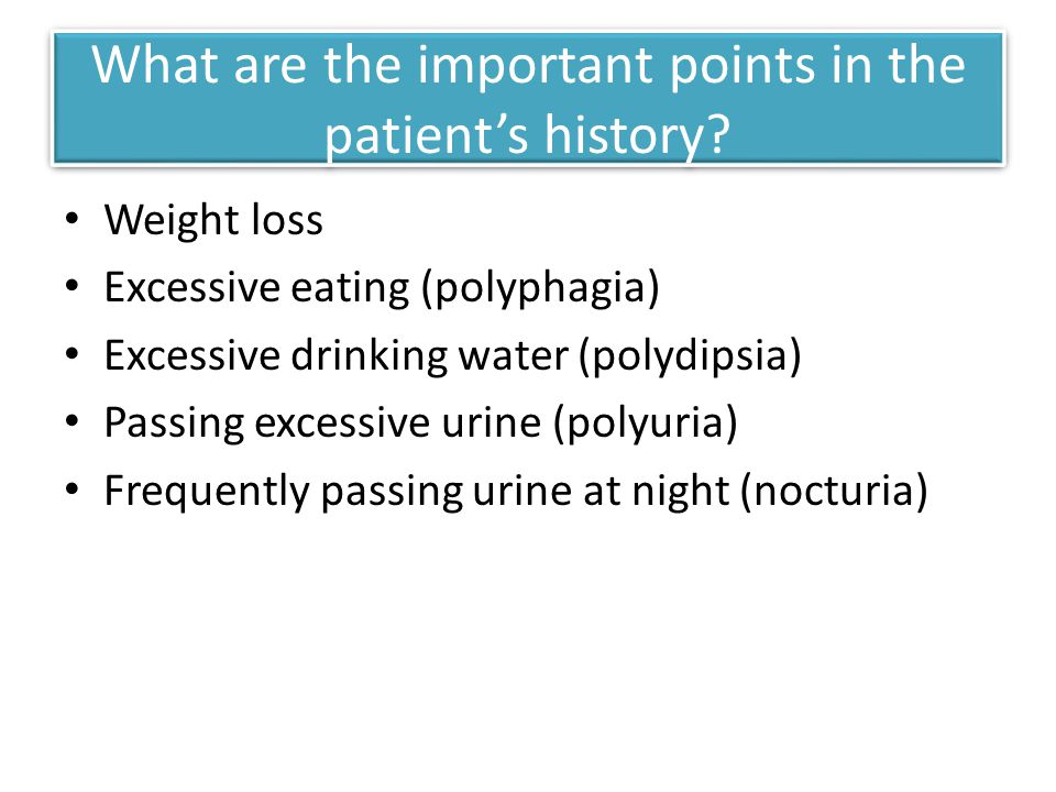 What are the important points in the patient's history