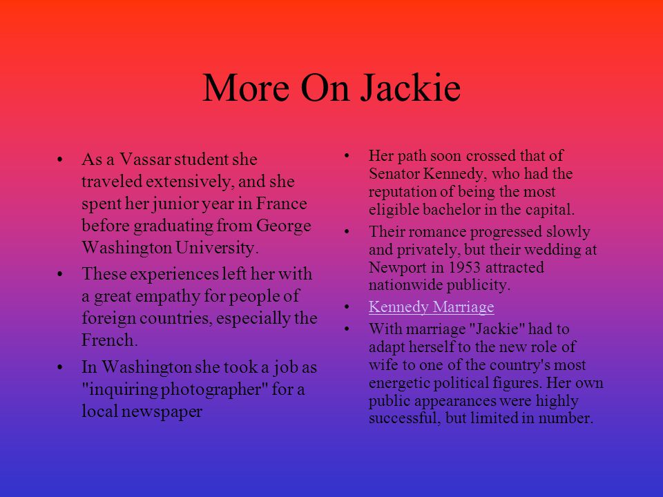 More On Jackie