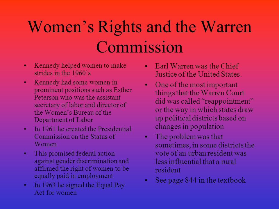 Women's Rights and the Warren Commission