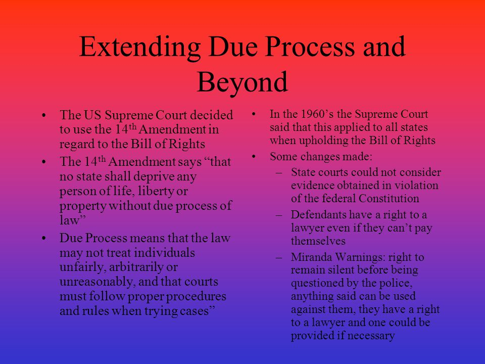Extending Due Process and Beyond