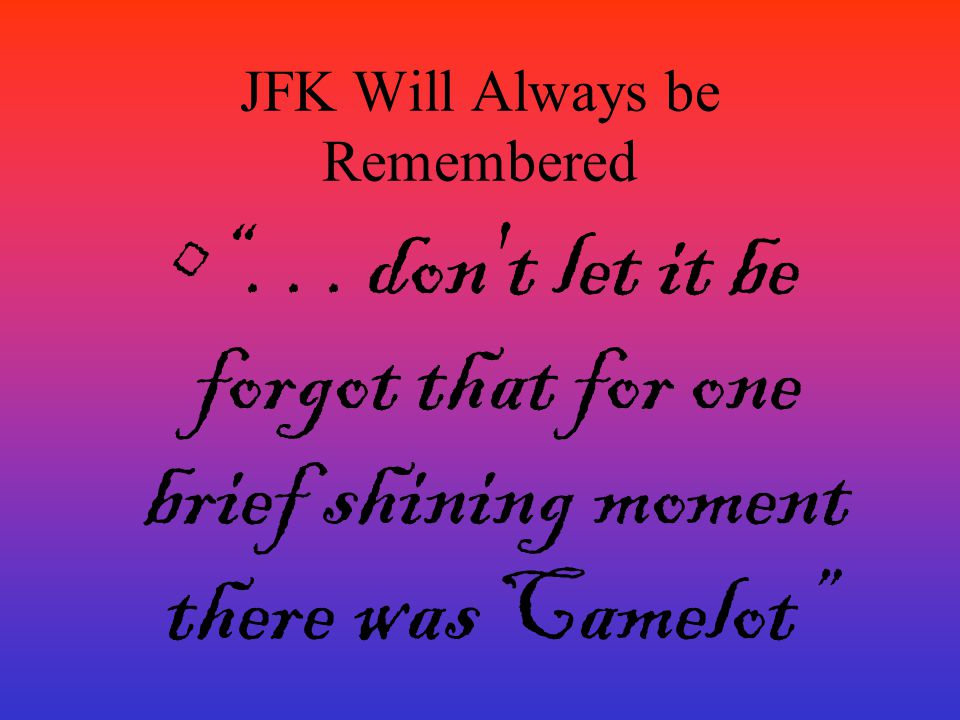 JFK Will Always be Remembered