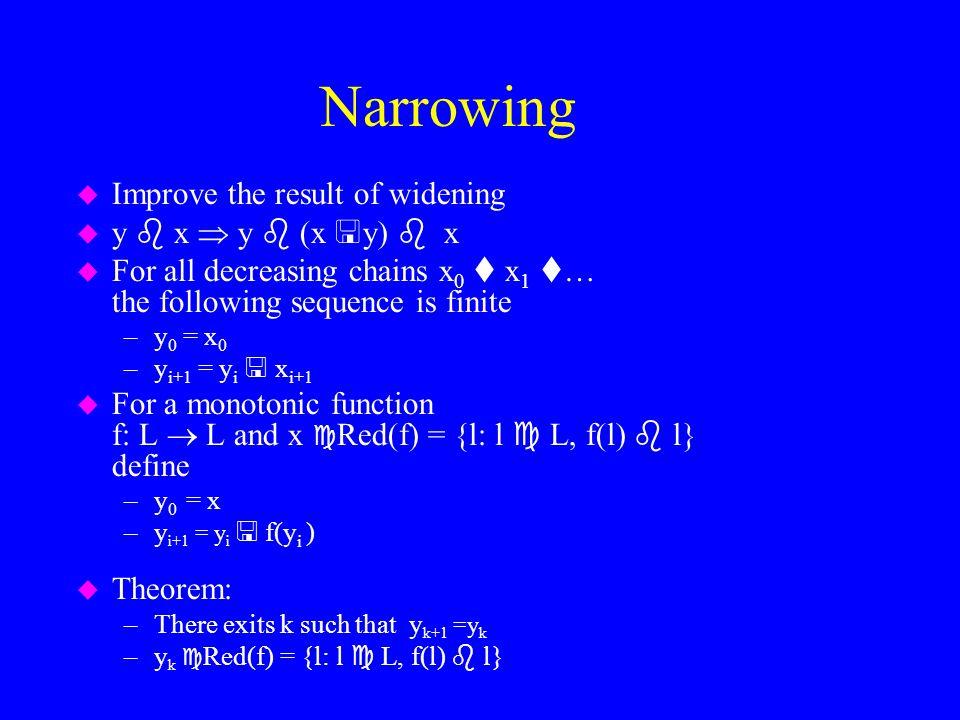 Narrowing Improve the result of widening y  x  y  (x y)  x