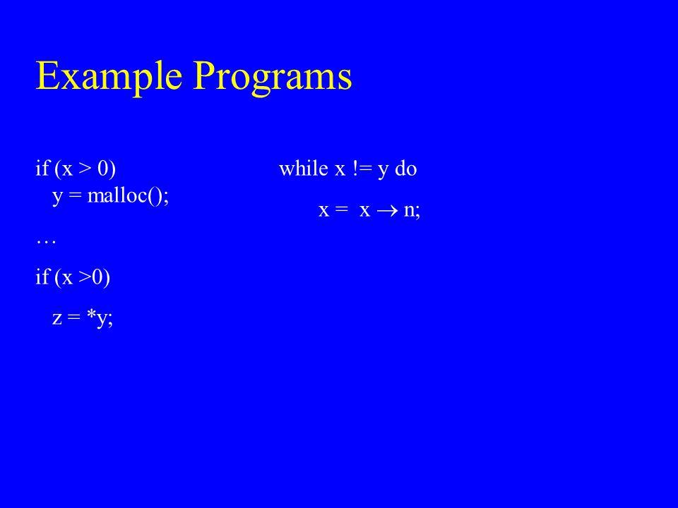 Example Programs if (x > 0) y = malloc(); … if (x >0) z = *y;