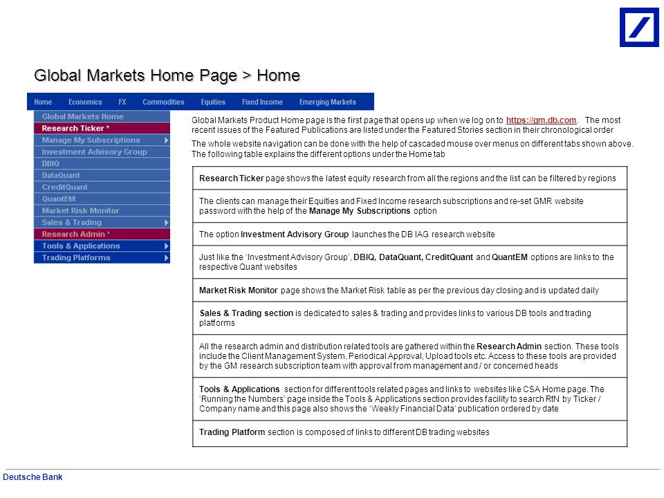 Global Markets Home Page > Home