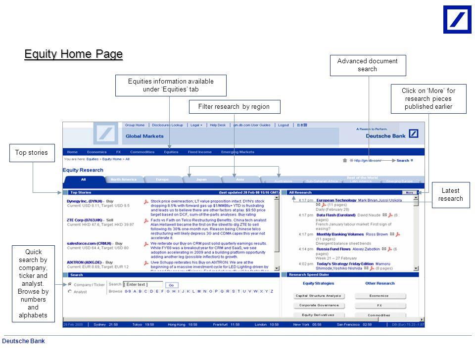 Equity Home Page Advanced document search