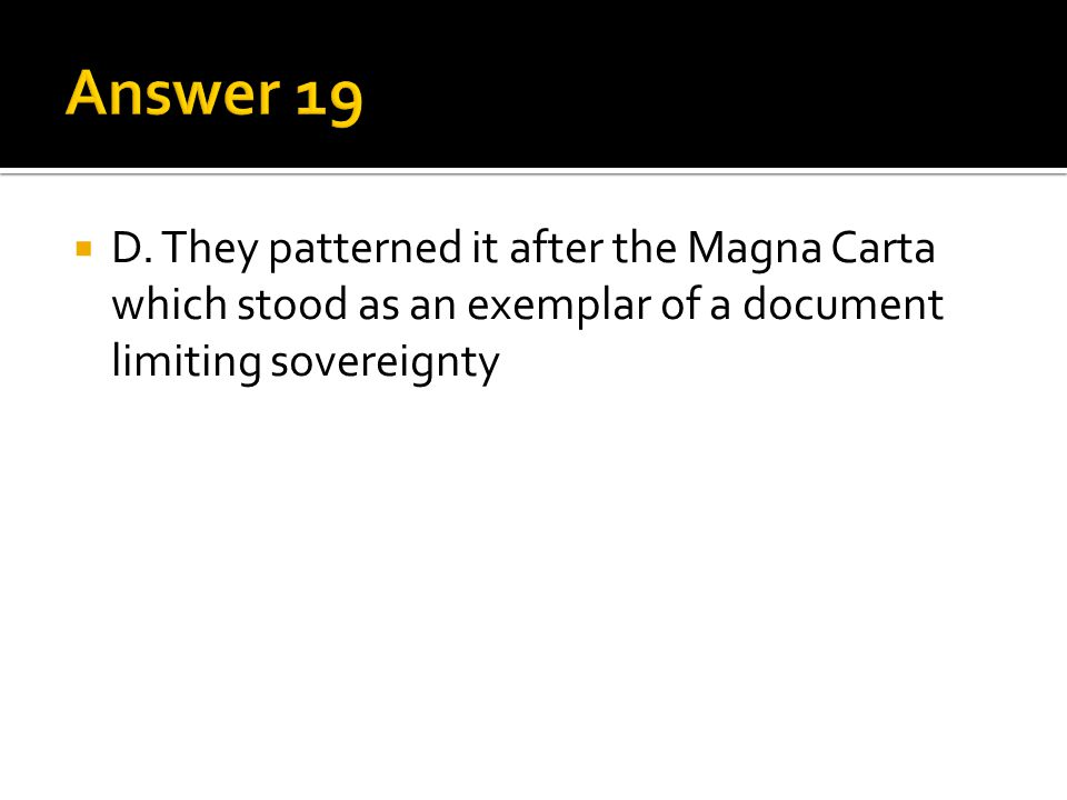 Answer 19 D.