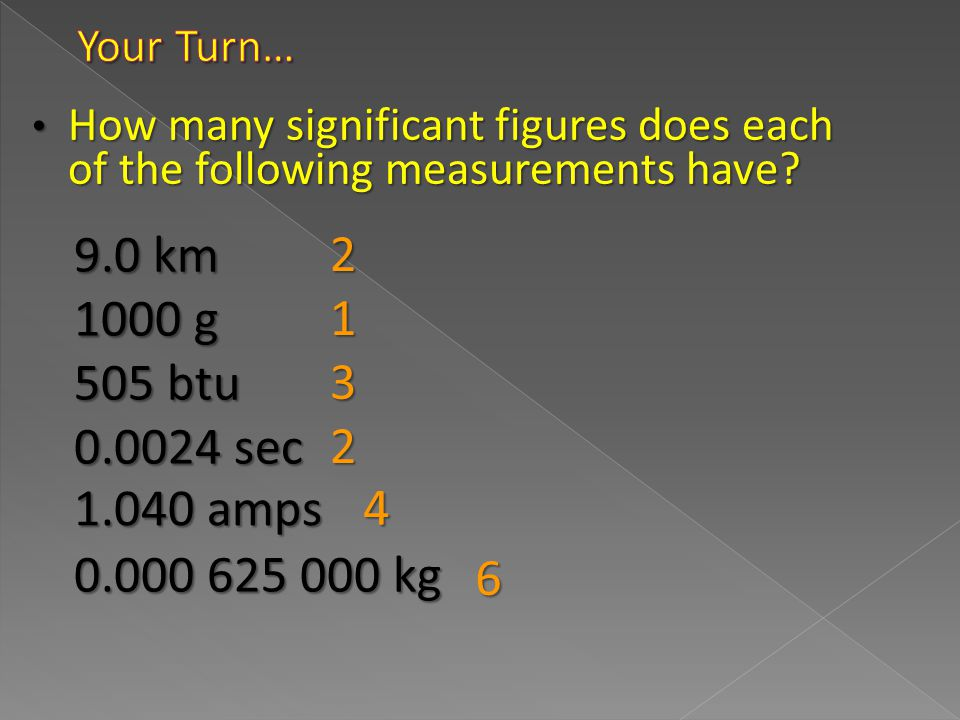 Your Turn… How many significant figures does each of the following measurements have 2. 9.0 km.