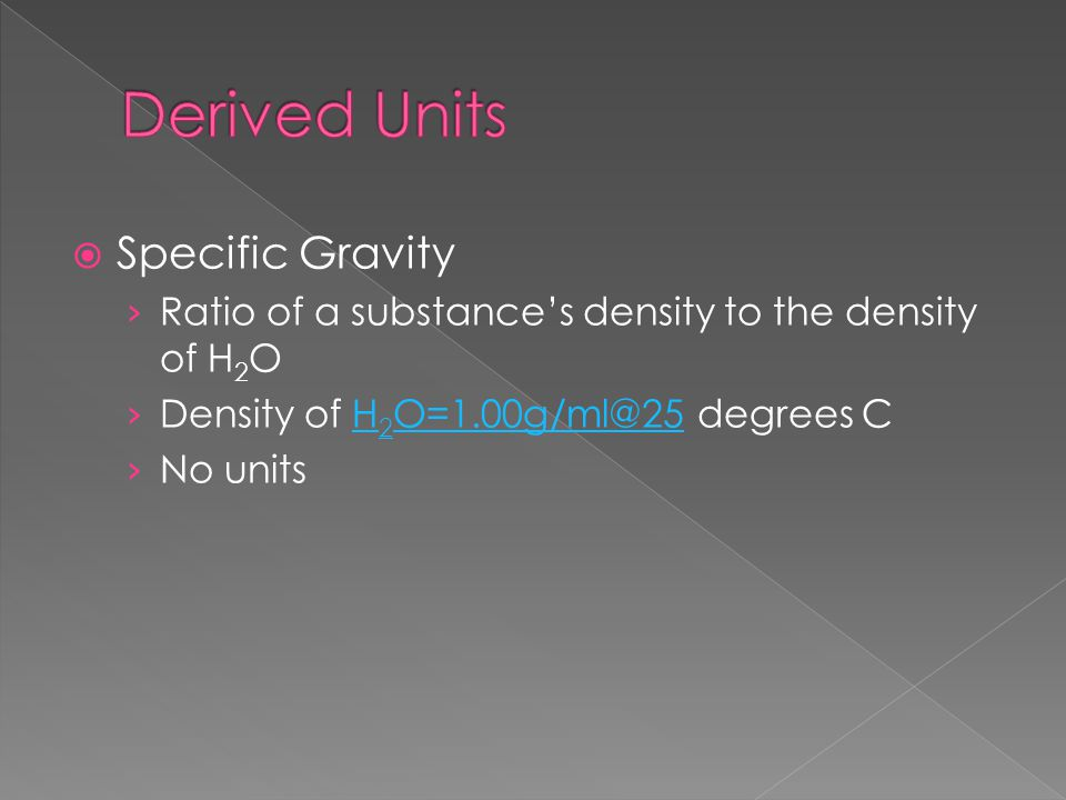 Derived Units Specific Gravity
