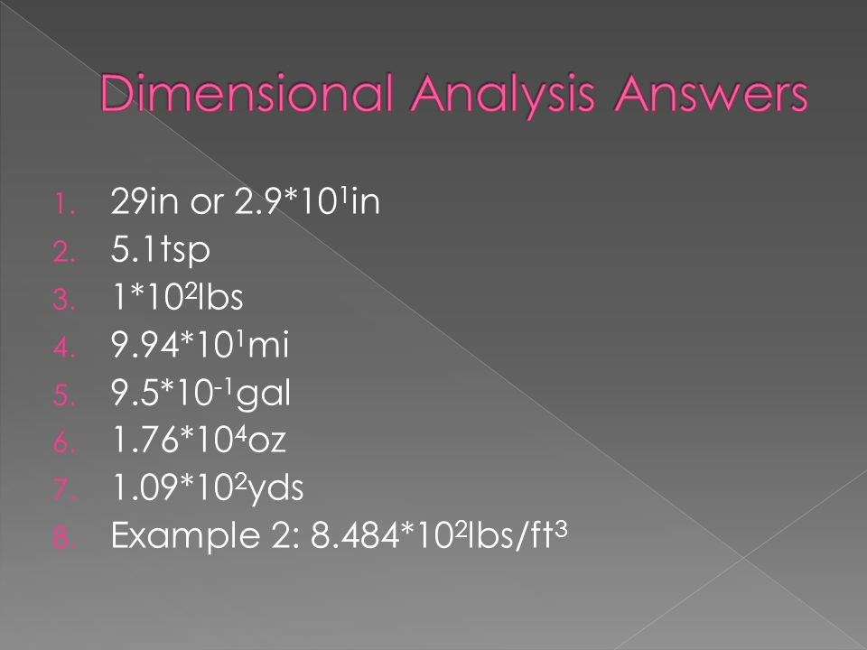 Dimensional Analysis Answers