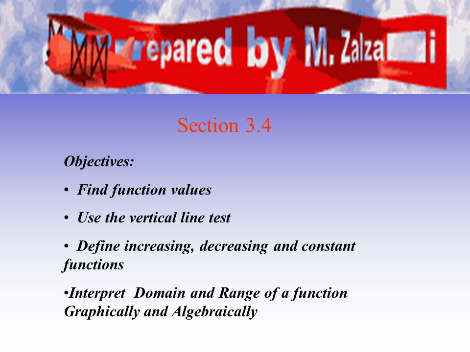 Section 3.4 Objectives: Find function values