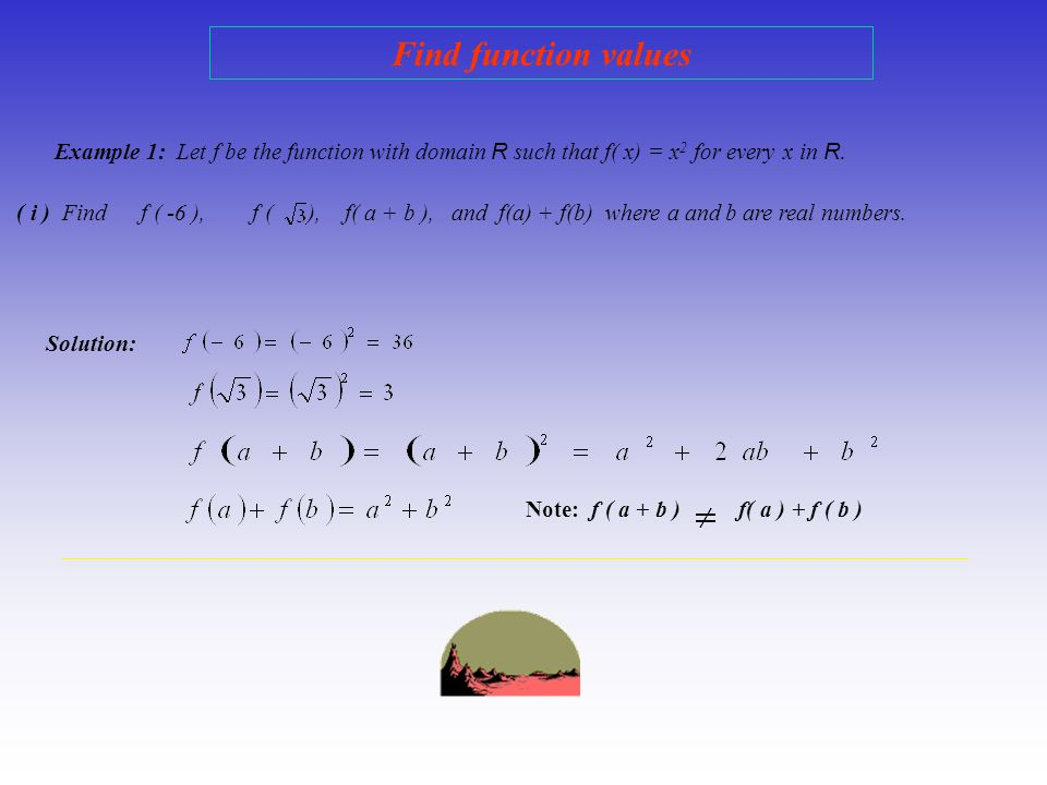 Find function values Example 1: Let f be the function with domain R such that f( x) = x2 for every x in R.