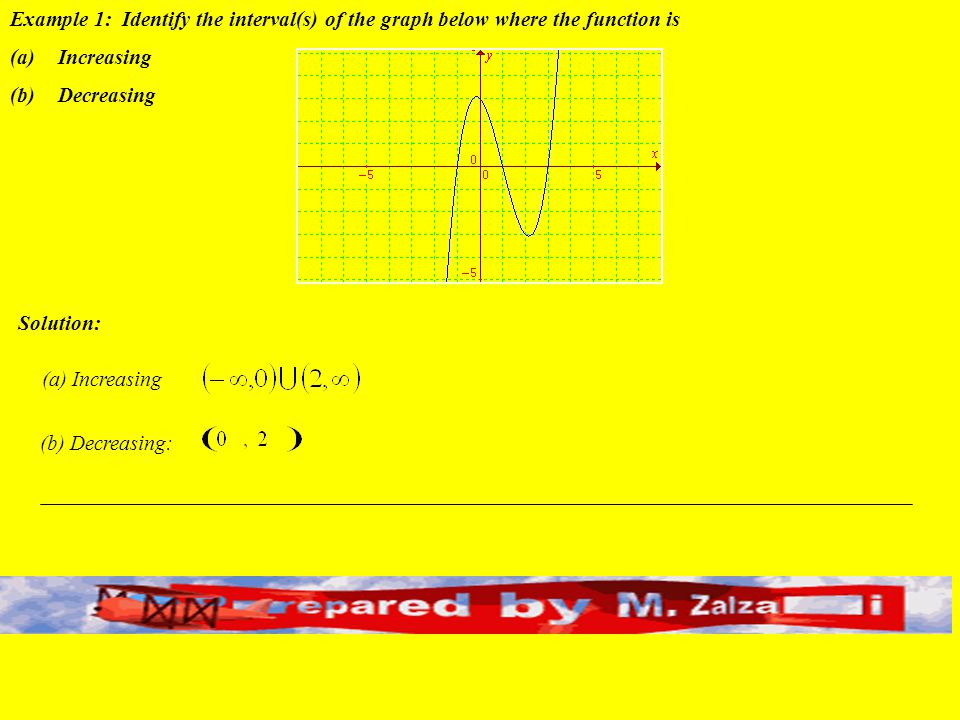 Example 1: Identify the interval(s) of the graph below where the function is
