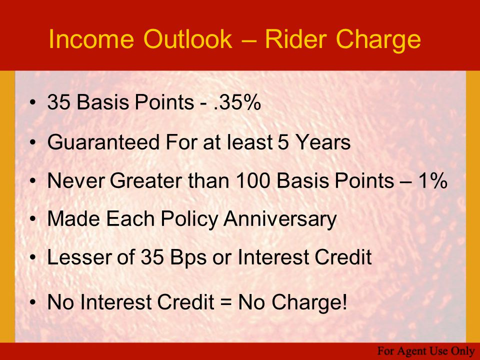Income Outlook – Rider Charge