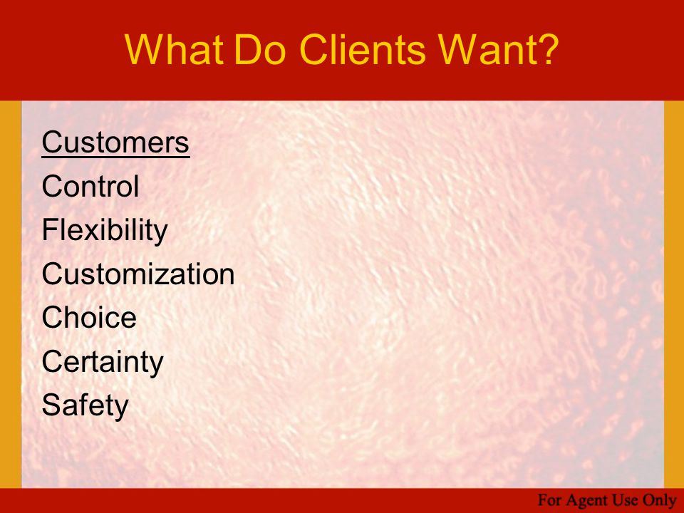What Do Clients Want Customers Control Flexibility Customization