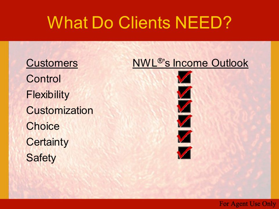 What Do Clients NEED Customers NWL®'s Income Outlook Control