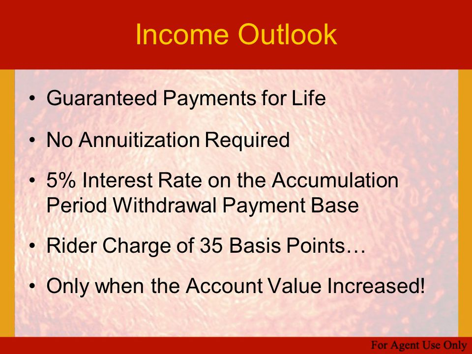 Income Outlook Guaranteed Payments for Life No Annuitization Required