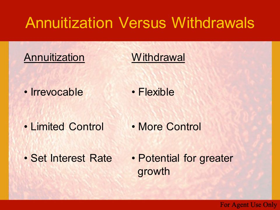 Annuitization Versus Withdrawals