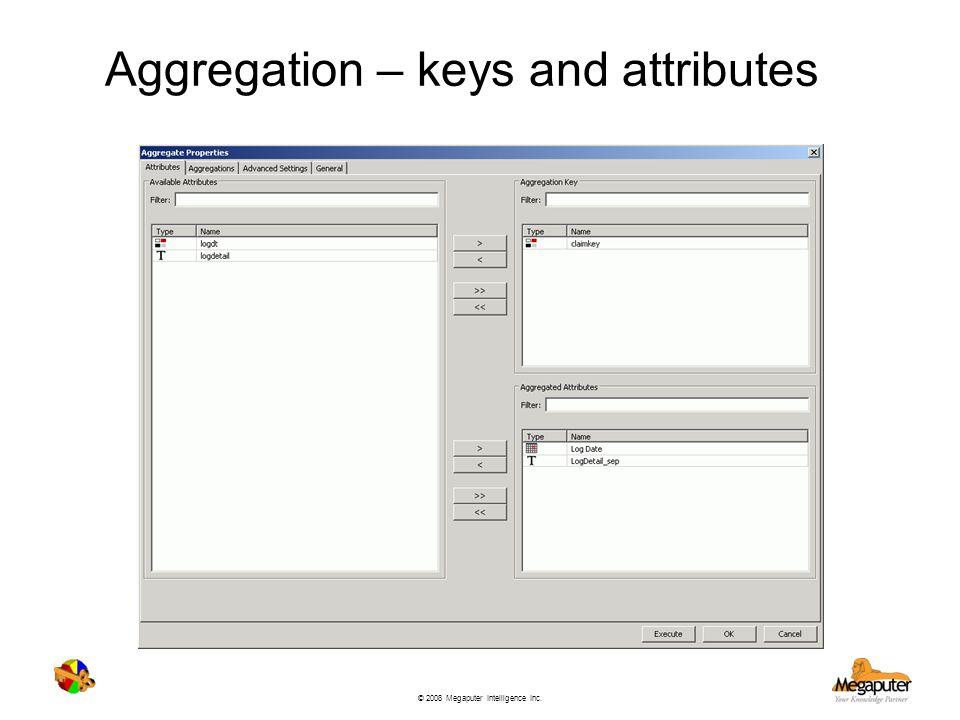 Aggregation – keys and attributes