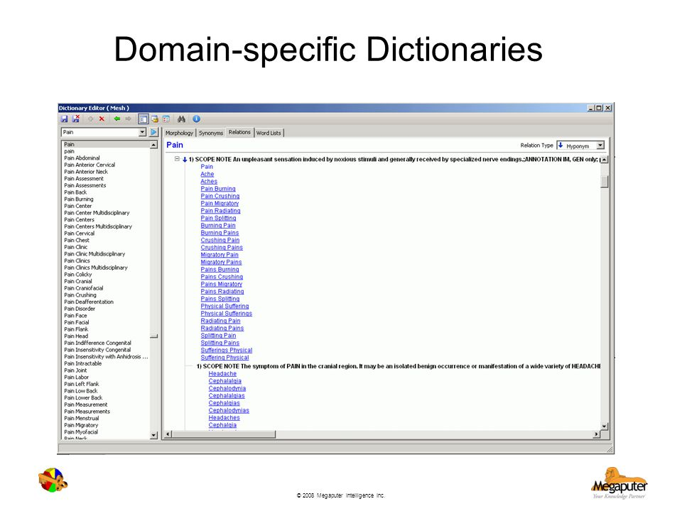 Domain-specific Dictionaries