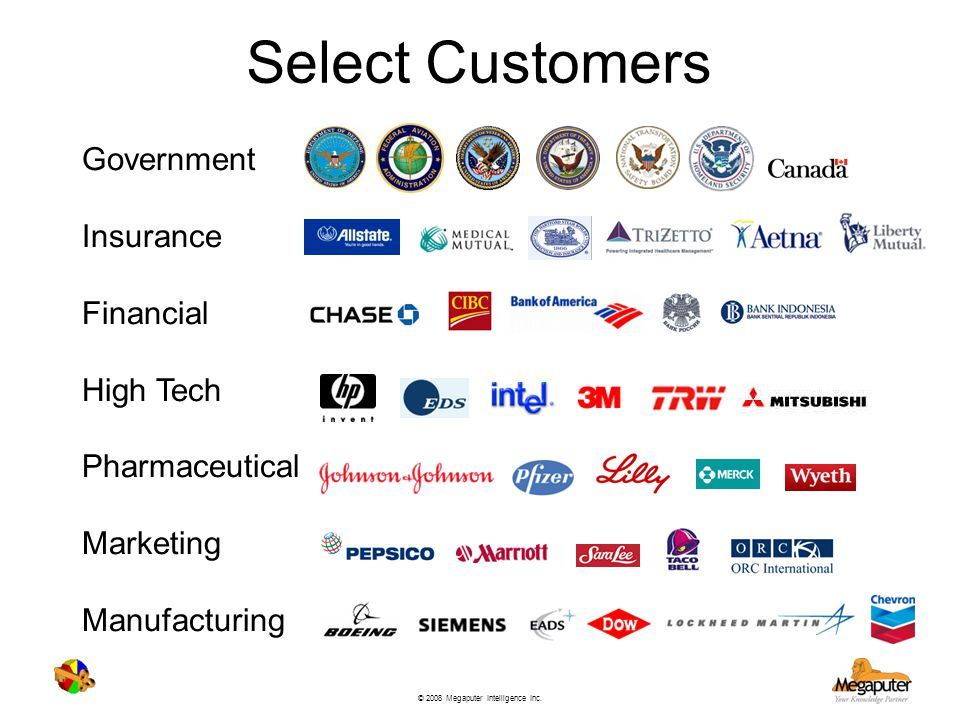 Select Customers Government Insurance Financial High Tech