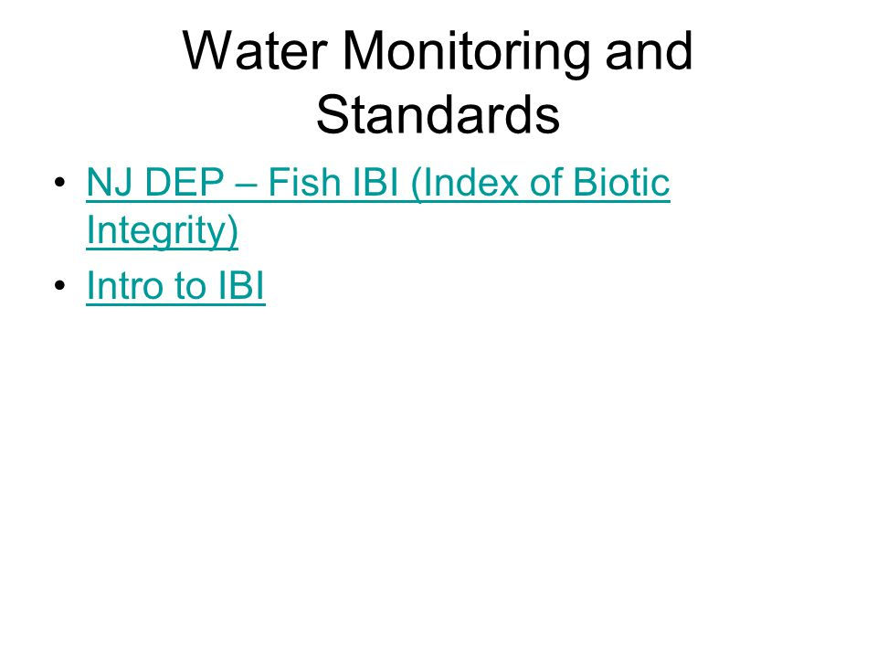 Water Monitoring and Standards