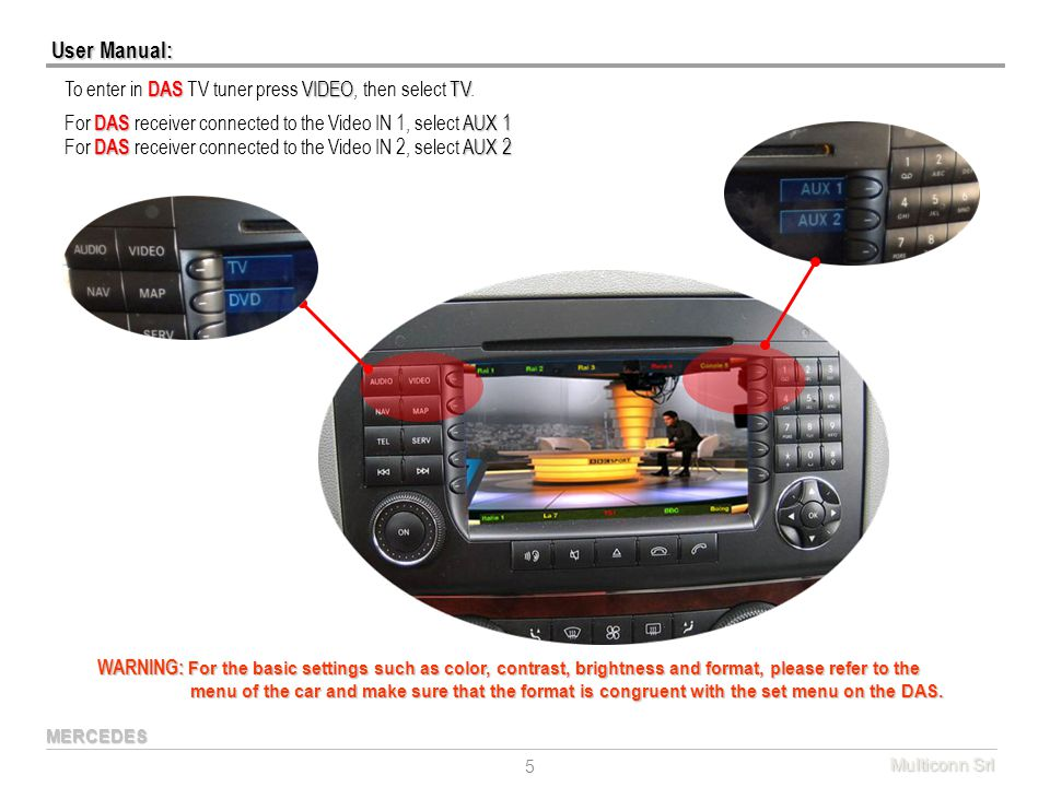 User Manual: To enter in DAS TV tuner press VIDEO, then select TV.