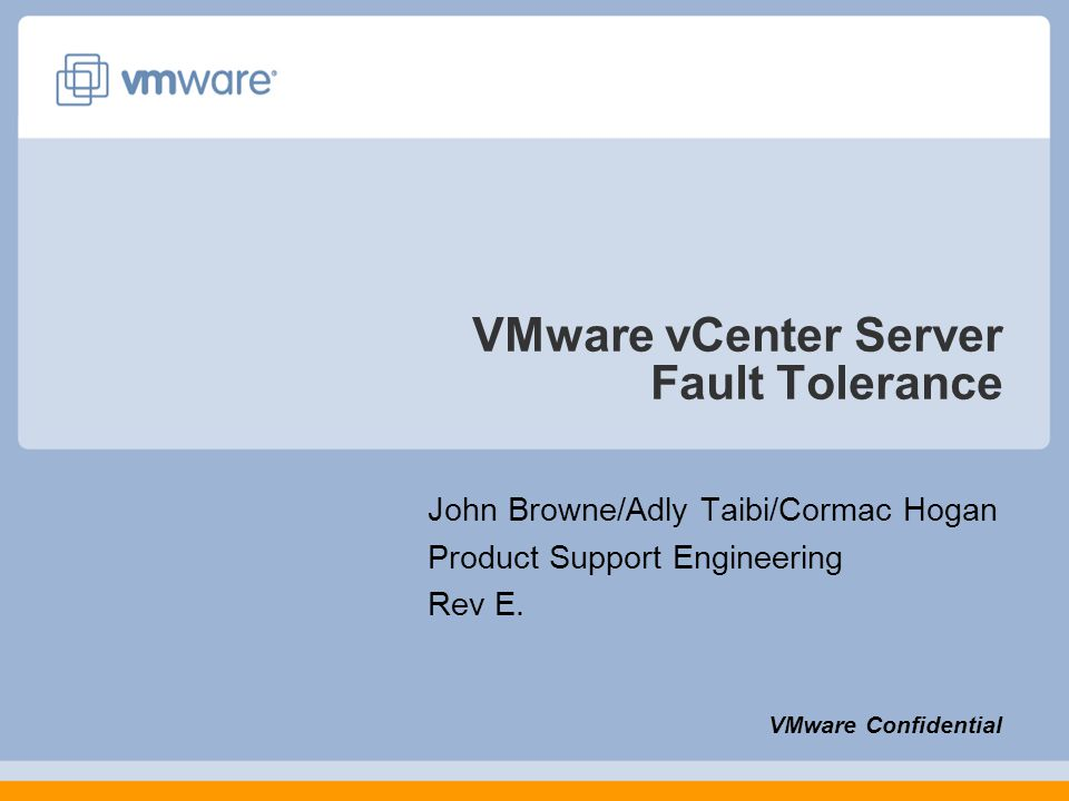VMware vCenter Server Fault Tolerance