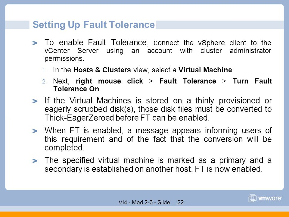 Setting Up Fault Tolerance