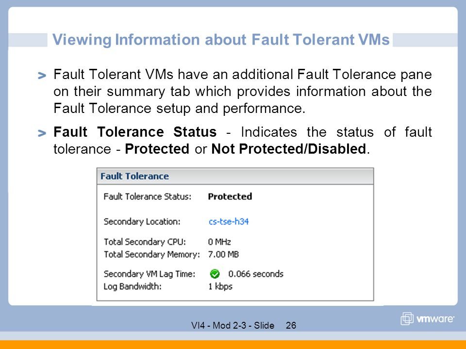 Viewing Information about Fault Tolerant VMs
