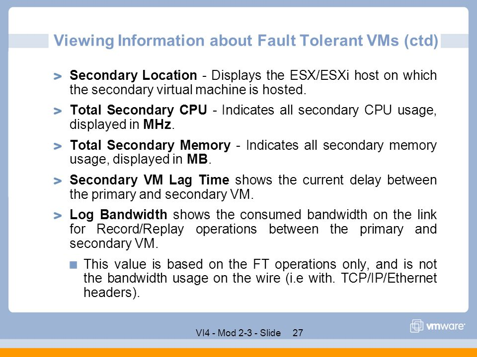Viewing Information about Fault Tolerant VMs (ctd)