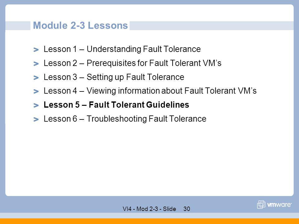 Module 2-3 Lessons Lesson 1 – Understanding Fault Tolerance