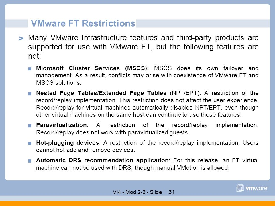 VMware FT Restrictions