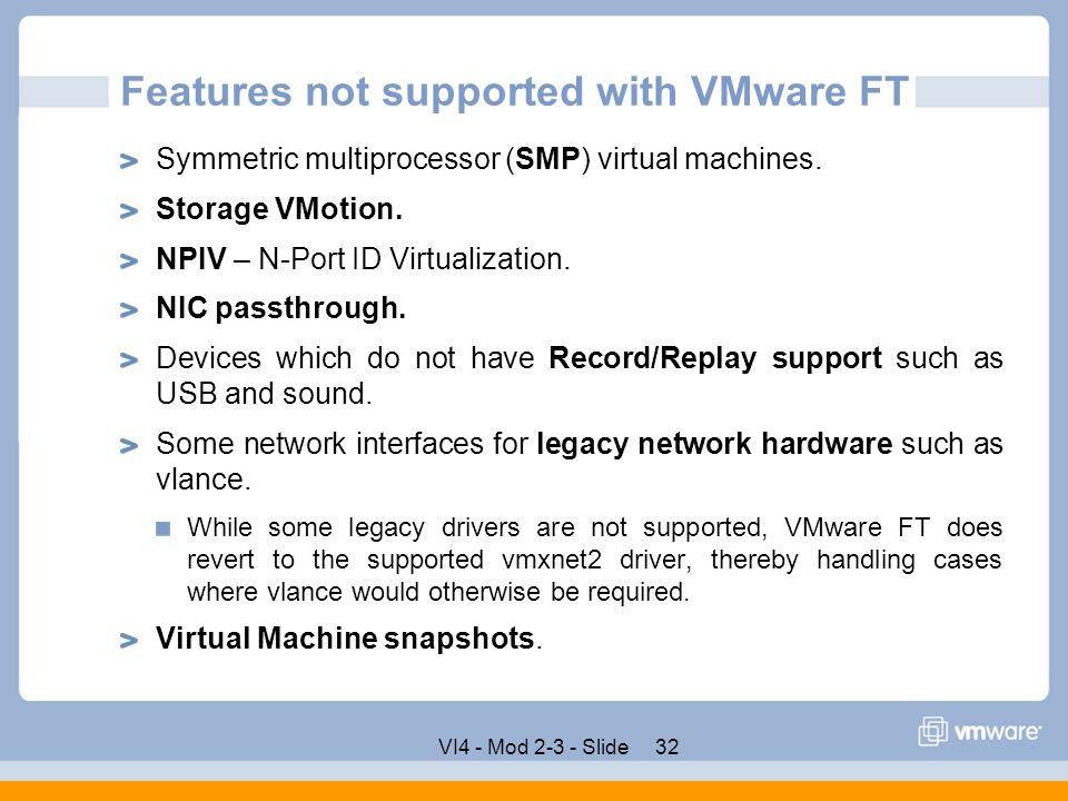 Features not supported with VMware FT