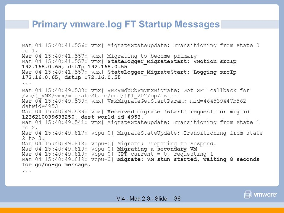 Primary vmware.log FT Startup Messages