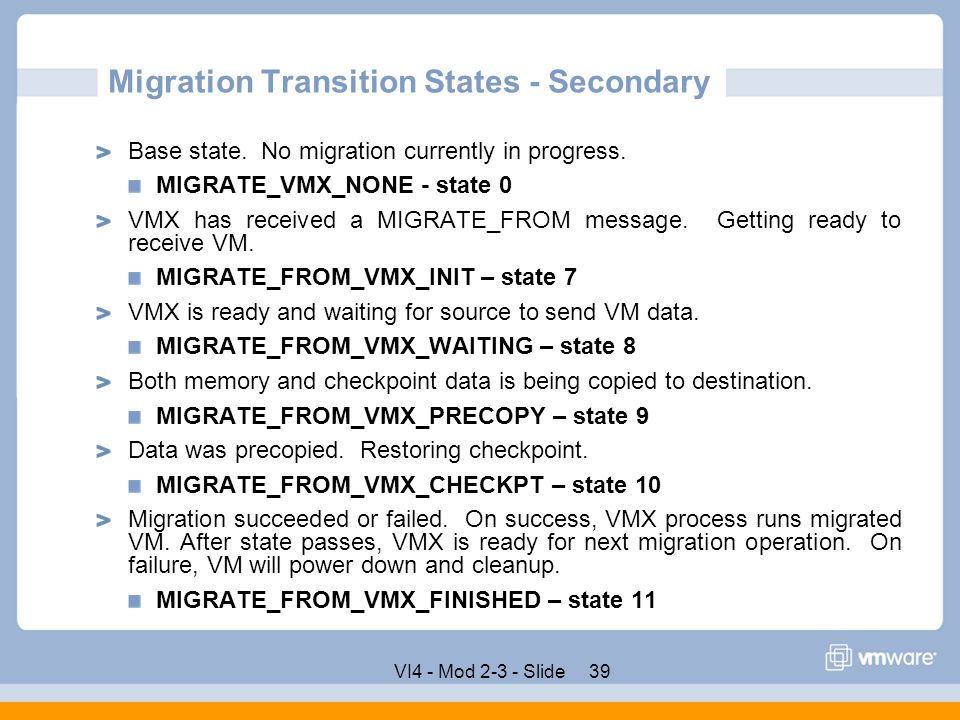 Migration Transition States - Secondary