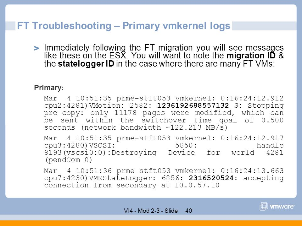 FT Troubleshooting – Primary vmkernel logs
