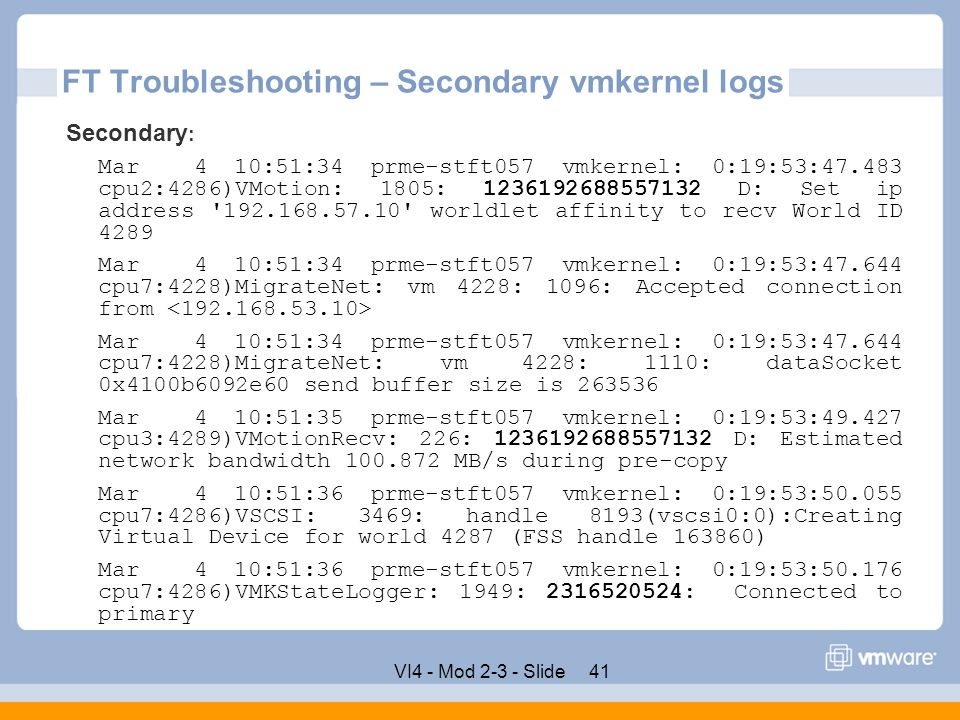 FT Troubleshooting – Secondary vmkernel logs