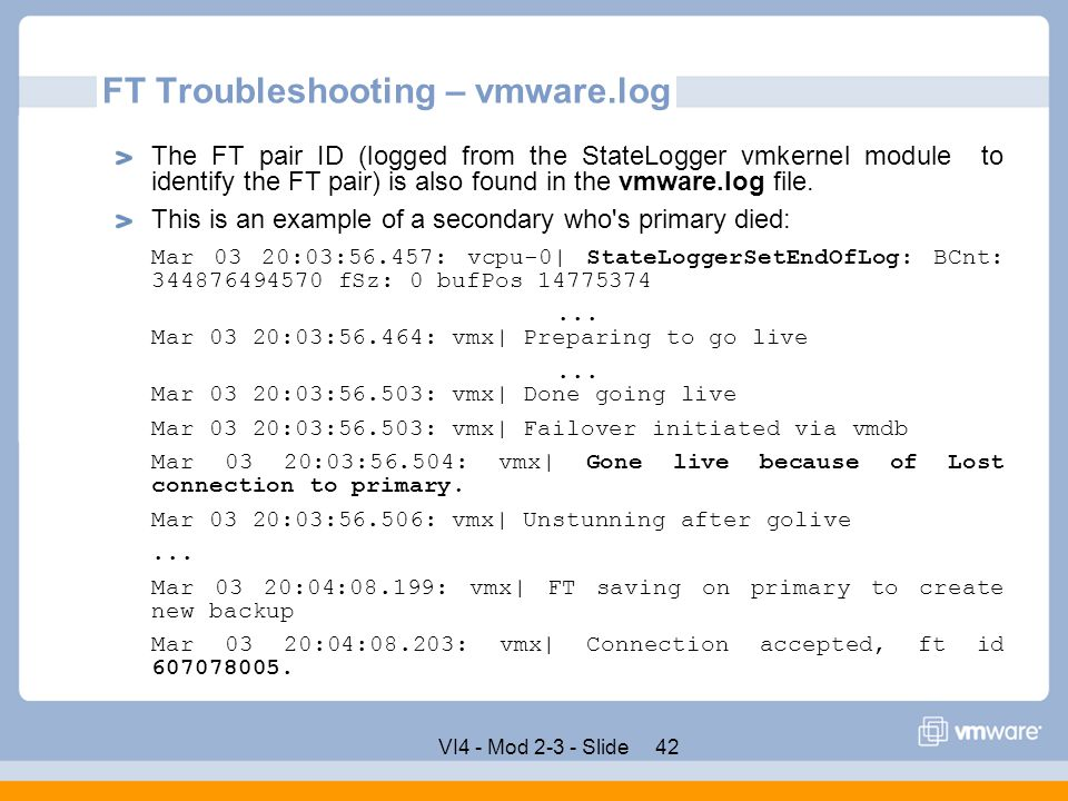 FT Troubleshooting – vmware.log