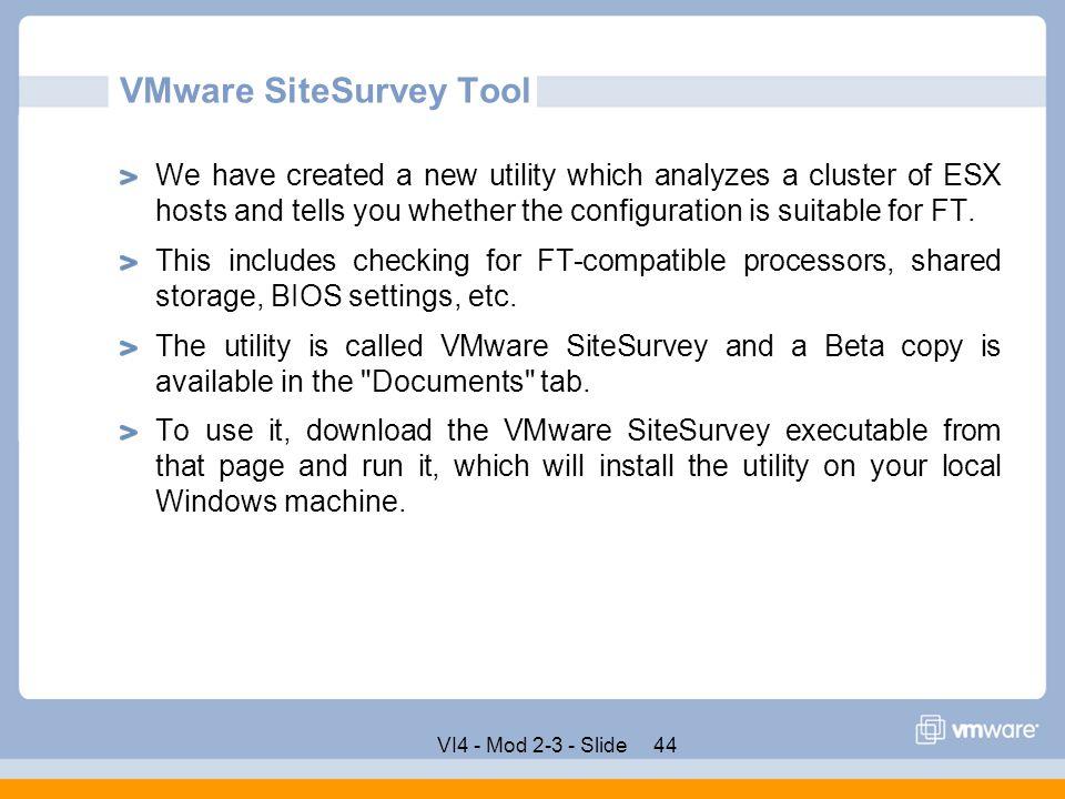 VMware SiteSurvey Tool