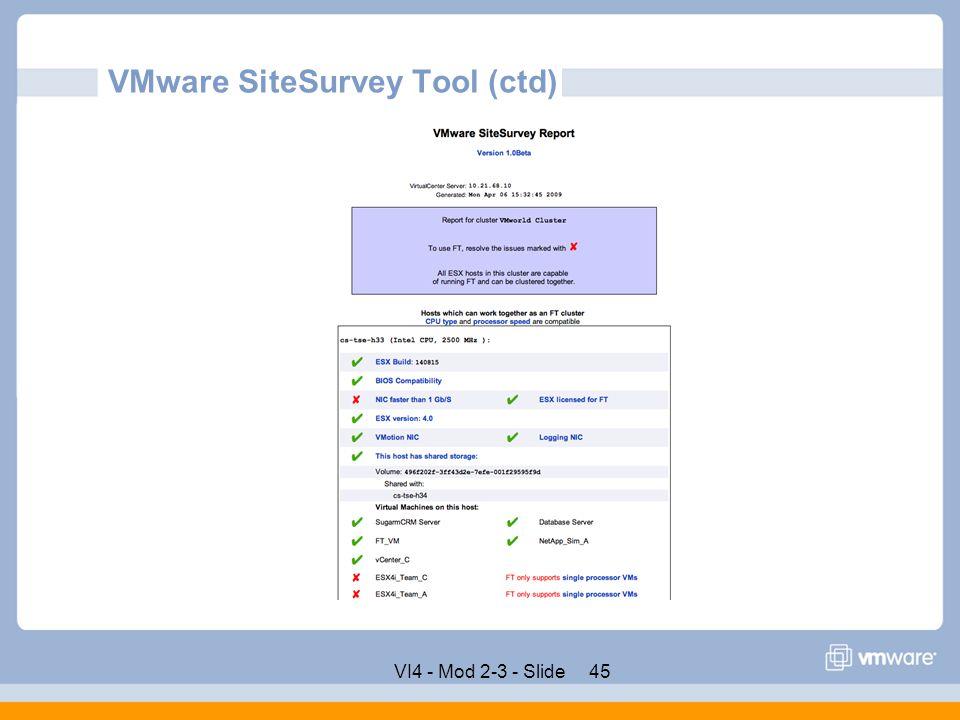 VMware SiteSurvey Tool (ctd)